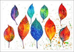 大人のぬり絵-水彩彩色画-9つの葉っぱ
