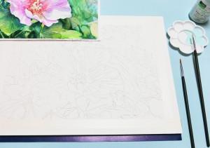 花の水彩画(塗り絵)の描き方n1-1