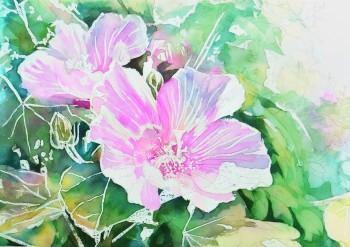 花の水彩画(塗り絵)の描き方n1-10