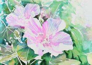 花の水彩画(塗り絵)の描き方n1-12
