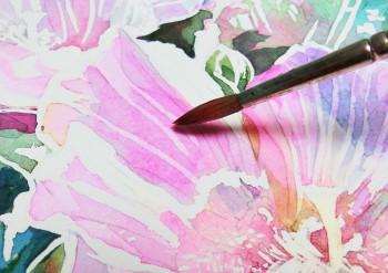 花の水彩画(塗り絵)の描き方n1-13