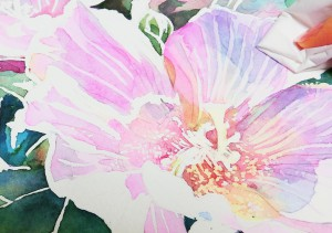 花の水彩画(塗り絵)の描き方n1-14