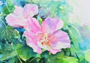 花の水彩画(塗り絵)の描き方n1-15