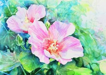 花の水彩画(塗り絵)の描き方n1-20