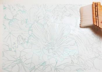 花の水彩画(塗り絵)の描き方n1-4