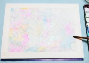 花の水彩画(塗り絵)の描き方n1-5