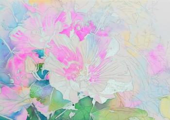 花の水彩画(塗り絵)の描き方n1-7