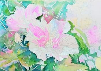 花の水彩画(塗り絵)の描き方n1-8