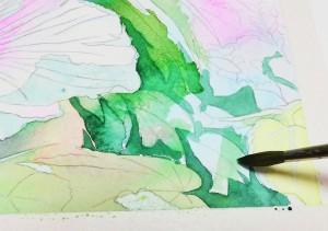 花の水彩画(塗り絵)の描き方n1-9