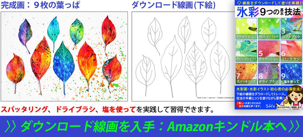 水彩の技法であるスパッタリングとドライブラシと塩を使って描いた水彩画と線画下絵(ぬり絵)本の紹介