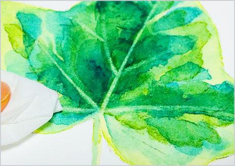 水彩画-植物の葉っぱの描き方-ウェットオンドライの手順8