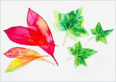 水彩画,水彩イラストの技法と塗り方,7枚の葉っぱ,枯葉の完成