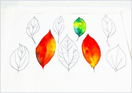 水彩画や水彩イラストの技法と描き方、スパッタリングの手順11