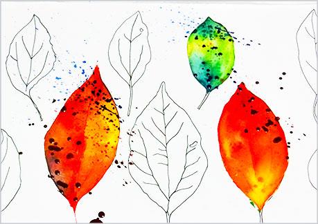 水彩画や水彩イラストの技法と描き方、スパッタリングの手順13