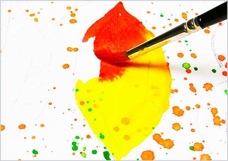 水彩画や水彩イラストの技法と描き方、スパッタリングの手順9