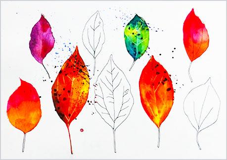 水彩画や水彩イラストの技法と塗り方、ドライブラシの手順4