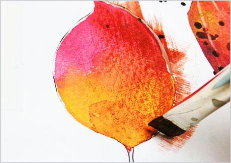 水彩画や水彩イラストの技法と塗り方、ドライブラシの手順6