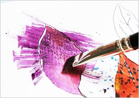 水彩画や水彩イラストの技法と塗り方、ドライブラシの手順7