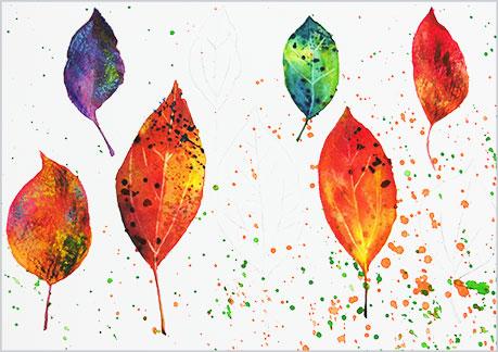 水彩画や水彩イラストの技法と塗り方、ドライブラシの手順8