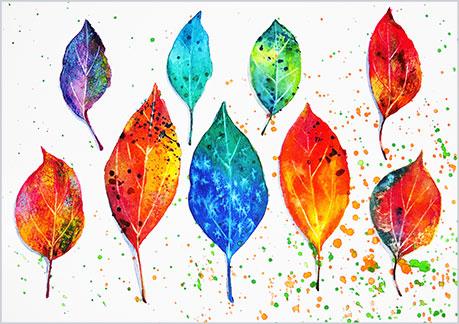 水彩画,水彩イラストの技法と塗り方,葉っぱ,枯葉の完成