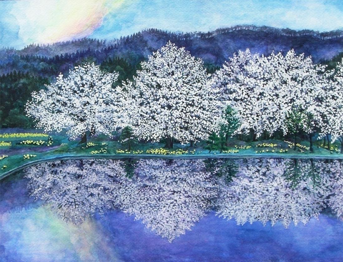 水彩画_風景画_木蓮の大木と彩雲(水彩イラスト・絵・Watercolor painting)