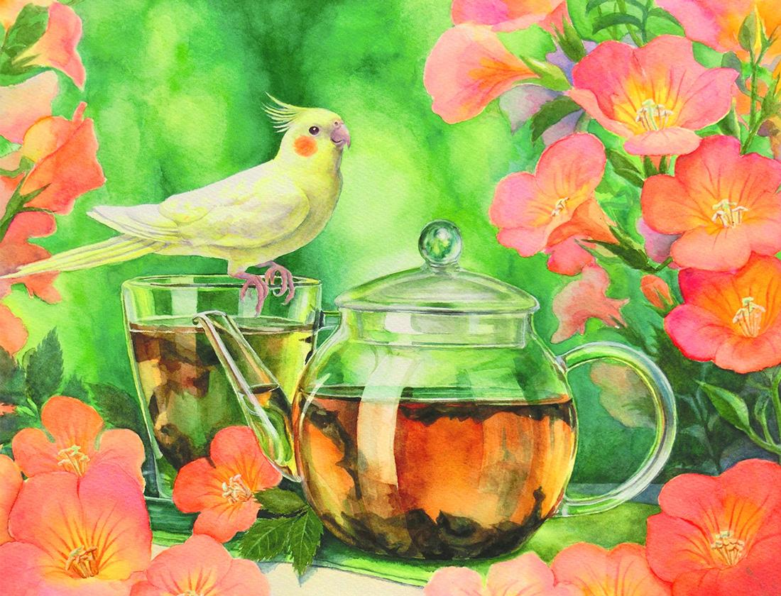 水彩画で紫陽花とオカメインコの絵(水彩イラスト・絵・Watercolor painting)