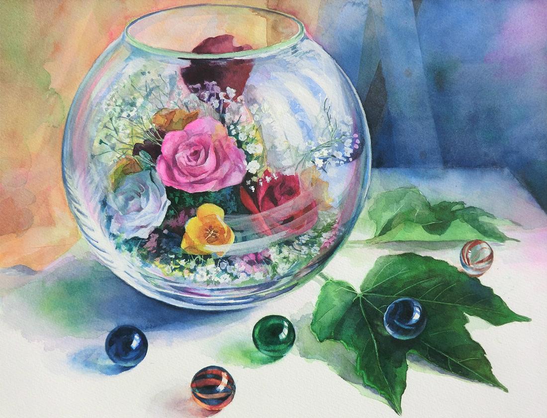 水彩画_ブリザードフラワーとビー玉(水彩イラスト・絵・Watercolor painting)