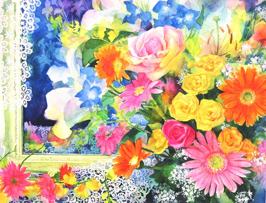 水彩画_花とレースの絵(水彩イラスト・絵・Watercolor painting)