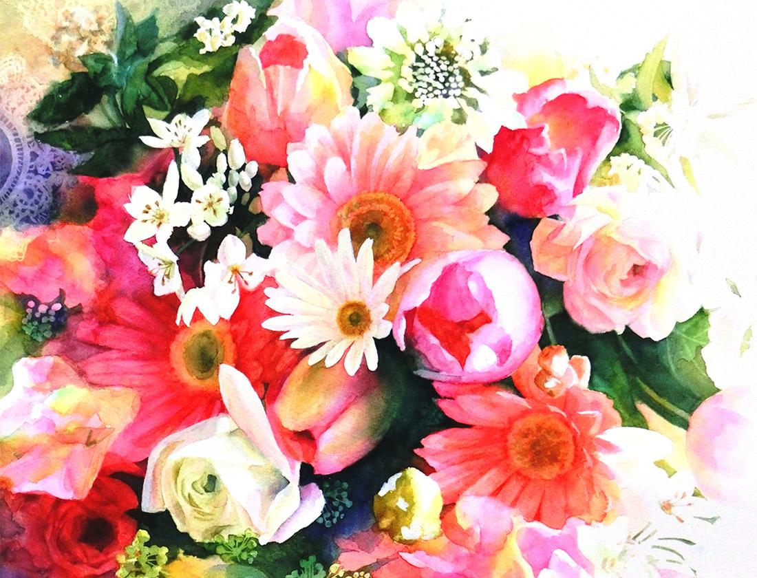 水彩画_ガーベラの花やチューリップの絵(水彩イラスト・絵・Watercolor painting)