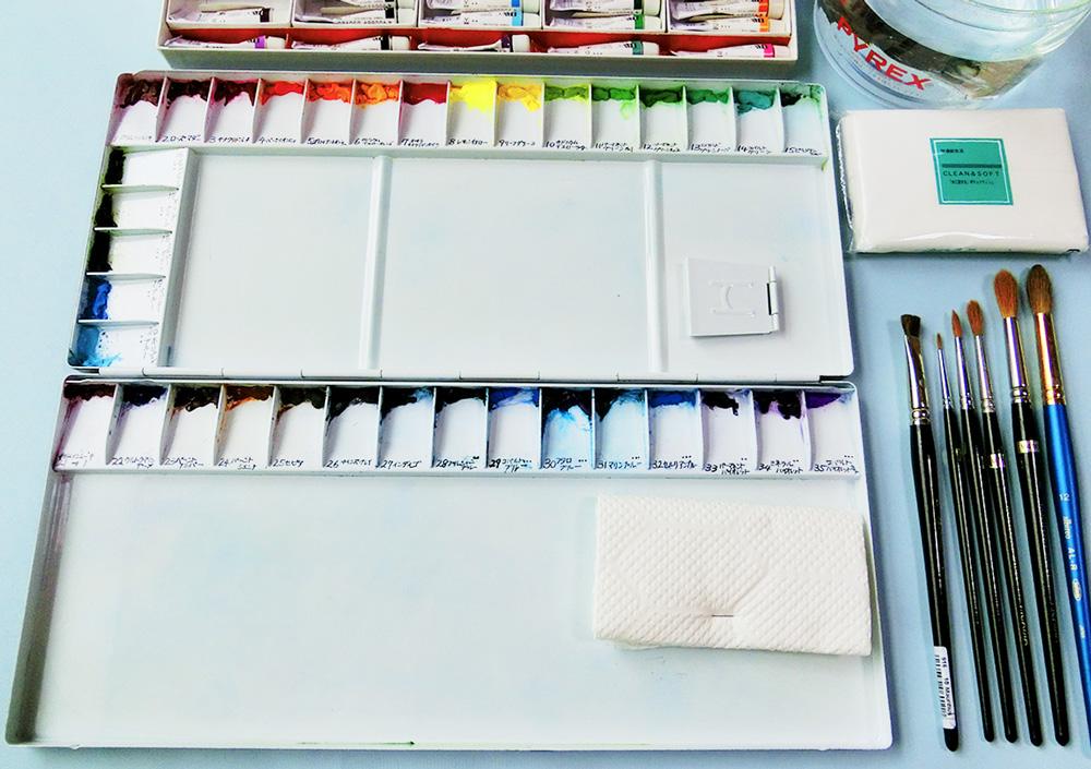 水彩の道具・パレット・絵の具・筆